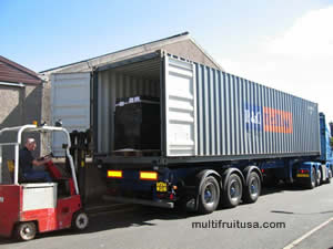 loading produce containers for shipping